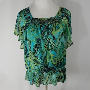 Apt9 Paisley peplum top with flutter sleeves